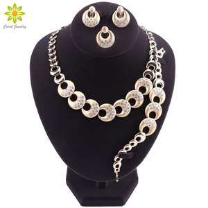 Свадебный комплект ювелирных изделий нигерийская Свадьба Дубай золотые Ювелирные наборы для женщин Африканское ожерелье серьги браслет к...