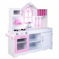 Goplus детские деревянные Кухня игрушка Пособия по кулинарии, игровой набор малышей деревянный Playset Новый TY322434
