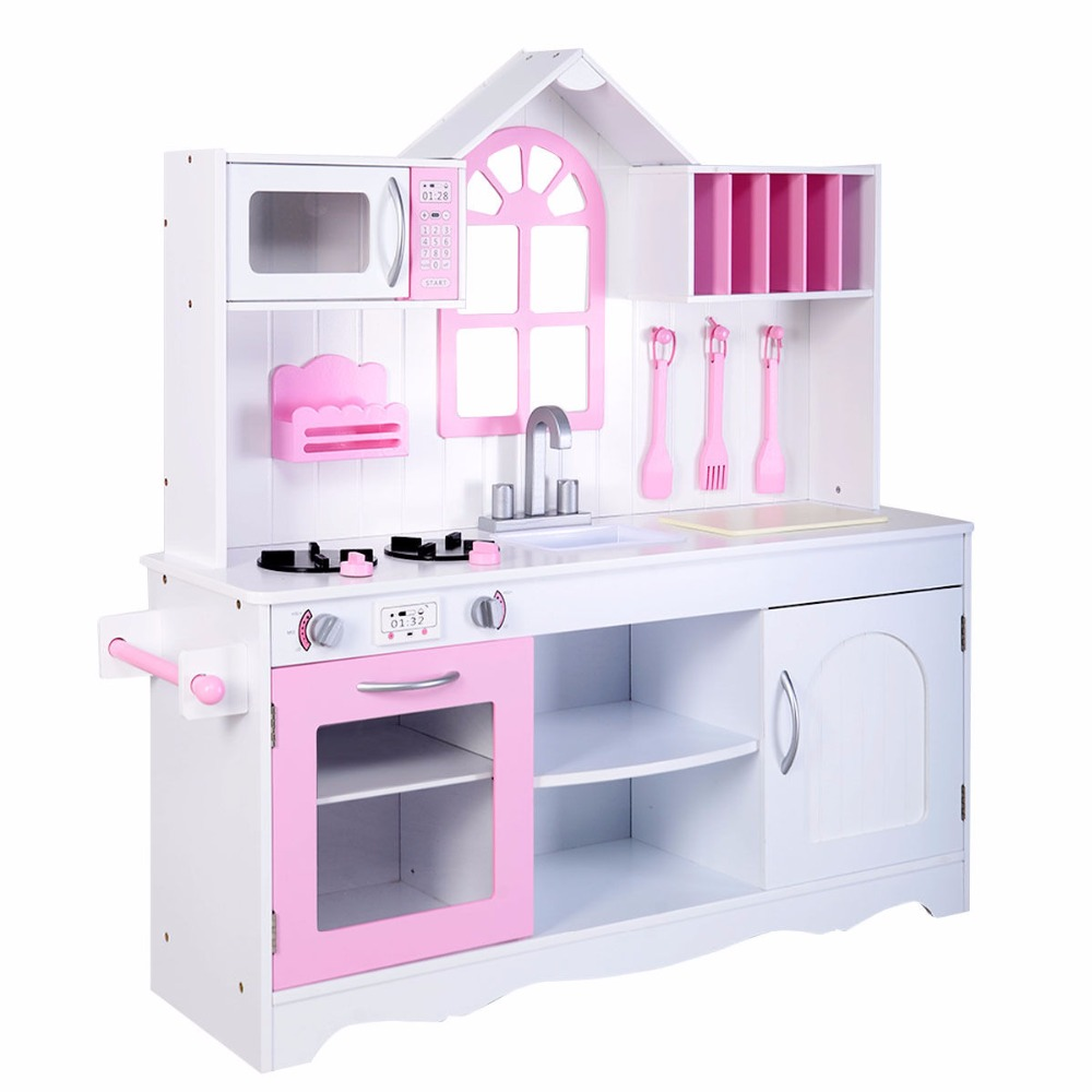 Goplus Kids Wood Kitchen Toy Cooking Pretend Play Set Toddler Wooden Playset New TY322434