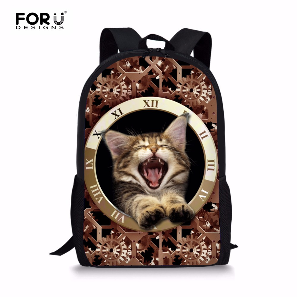 FORUDESIGNS Funny 3D Cat Dog Kids School School For Student Girls Animal Prints Children Schoolbag Book Backpack Mochila Escolar