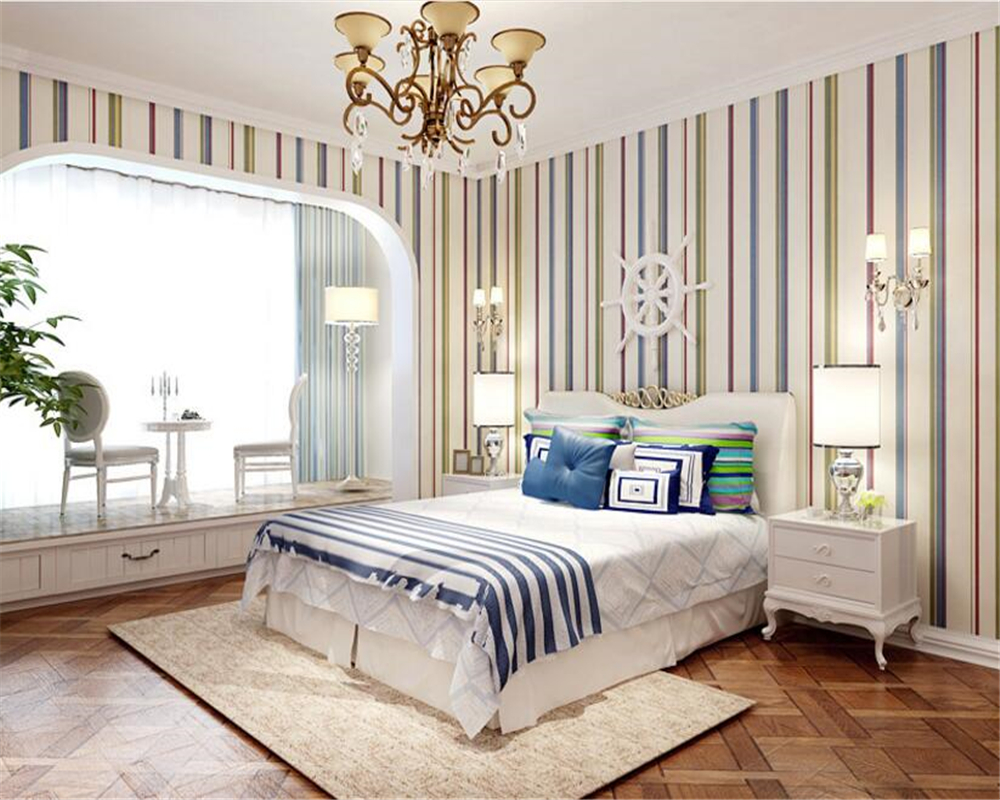 beibehang Mediterranean vertical striped wallpaper green children room pure paper bedroom living room background papel de parede beibehang wallpaper vertical stripes 3d children s room boy bedroom mediterranean style living room wallpaper page 7