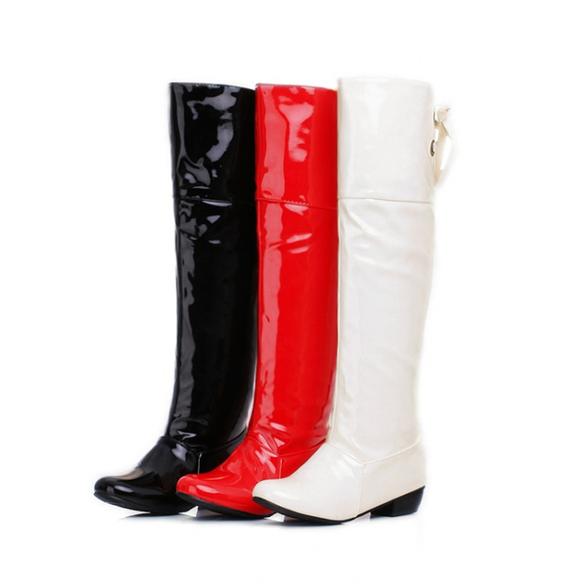 Boots Patent Leather White red wedding shoes plus size 42 43 44 45 46 small yards