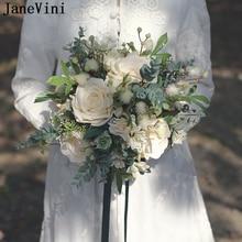 JaneVini, ramos de boda Vintage, Flores de jardín bohemio, rosas de seda artificiales, Ramo de Novia falso al aire libre, Ramo de Flores, Novia