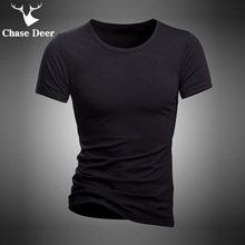 Summer T-Shirt Underwear Chase Deer Black High-Quality White Cotton New-Brand Solid Casual