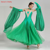 Women Standard Ballroom Dress Sleeveless Spandex + mesh Dance Costume For Adult Waltz Ballroom Competition Dance Dress