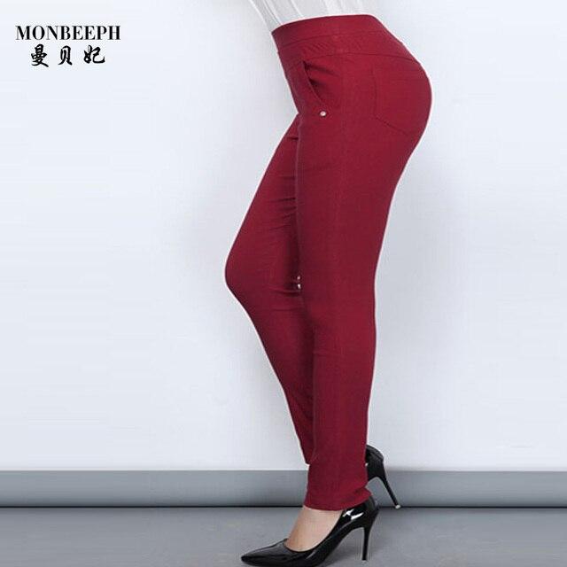 2018 Monbeeph new Fashion Big size 2XL-6XL Women black blue red Pants High waist Fat MM Pencil Pants Clothes For Female capris Pants & Capris