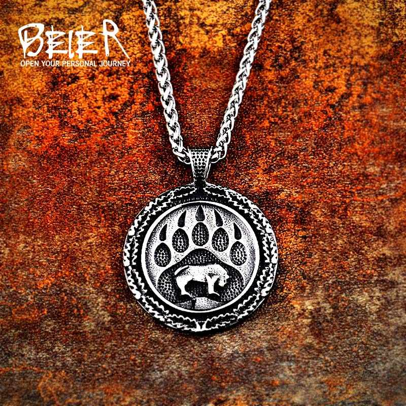 Beier 316L stainless steel Norse Viking Pendant Necklace Bear paw and head Amulet Odin 's Symbol  Original Animal Jewelry LP371