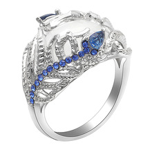 Seanlov Custom Creative Feather Silver Color Ring For Women Vintage Blue Opal Flower Moonstone Engagement/Wedding Rings