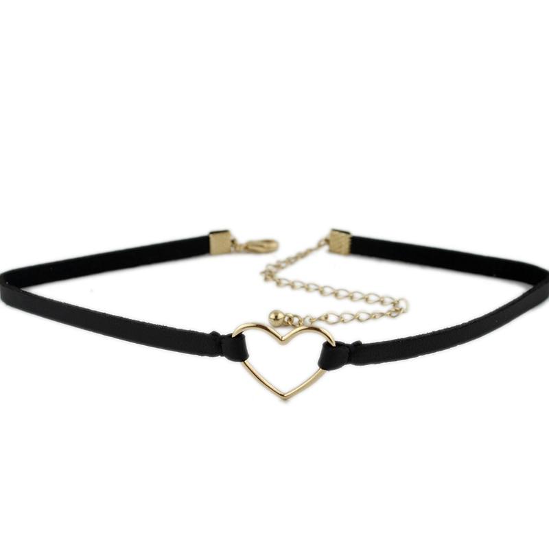 Eenvoudige zwarte lederen koord ketting ketting ketting fluwelen riem - Mode-sieraden