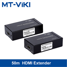 MT-VIKI HDMI extender 50M single network cable RJ45 UTP/STP Cat5e/6 HDMI to network cable network extender HD transmission ED05 universal hd 1080p hdmi to rj45 cat5e cat6 network extender converter splitter cable with power adaptor two cables