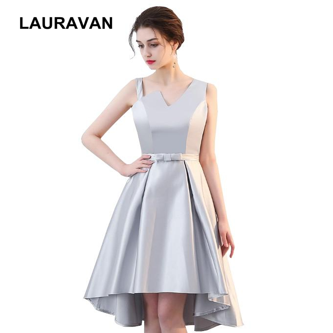 vestido de noiva special occasion formal gray short front long back high low one shoulder   prom     dress   party elegant   dresses   gown