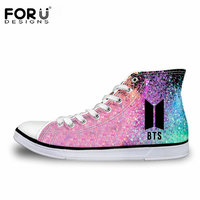 FORUDESIGNS Fashion Kpop BTS Print High top Canvas Shoes Women Classic Lace up Vulcanize Shoes Girls Leisure Sneakers Shoes Girl