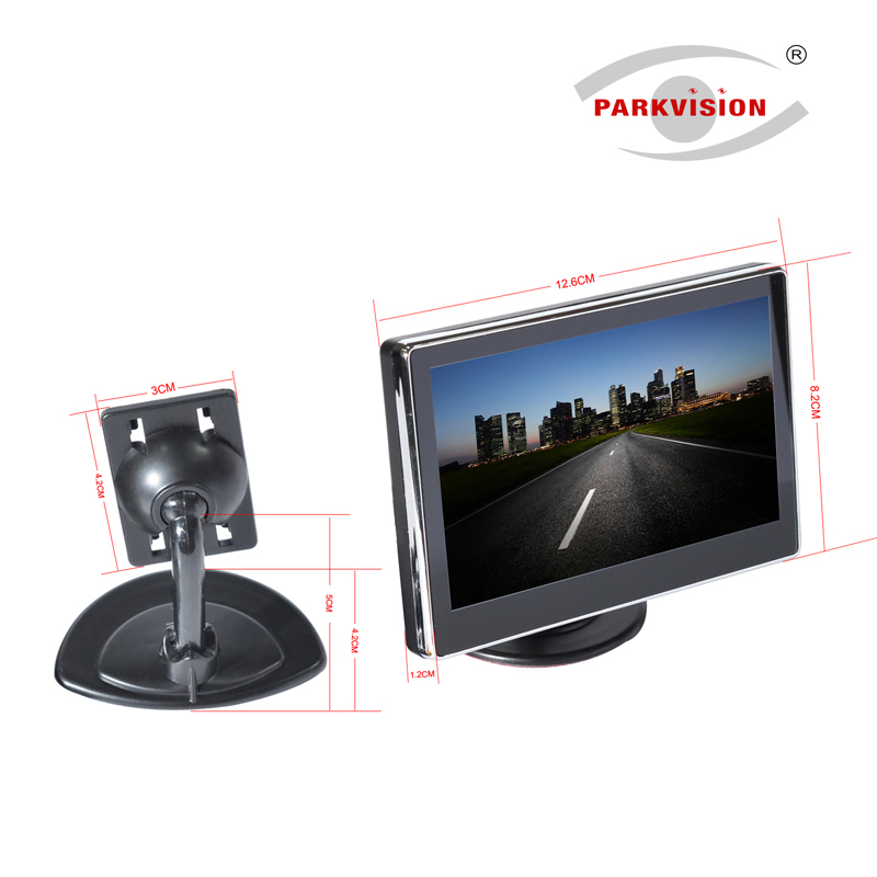 PARKVISION Digital 5 Inch Standalone Car Rearview Monitor Monitor Kit 2 Channel Video Input High Brightness Wide-screen LCD