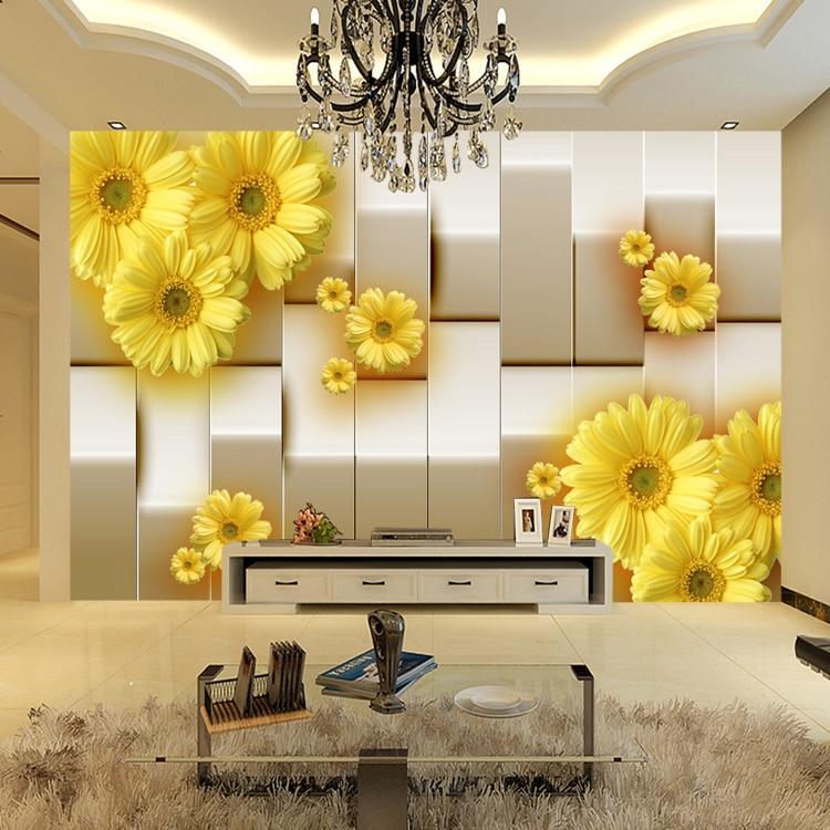 living yellow wall background flower murals mural tv sofa 8d chrysanthemum wallpapers 3d fresco