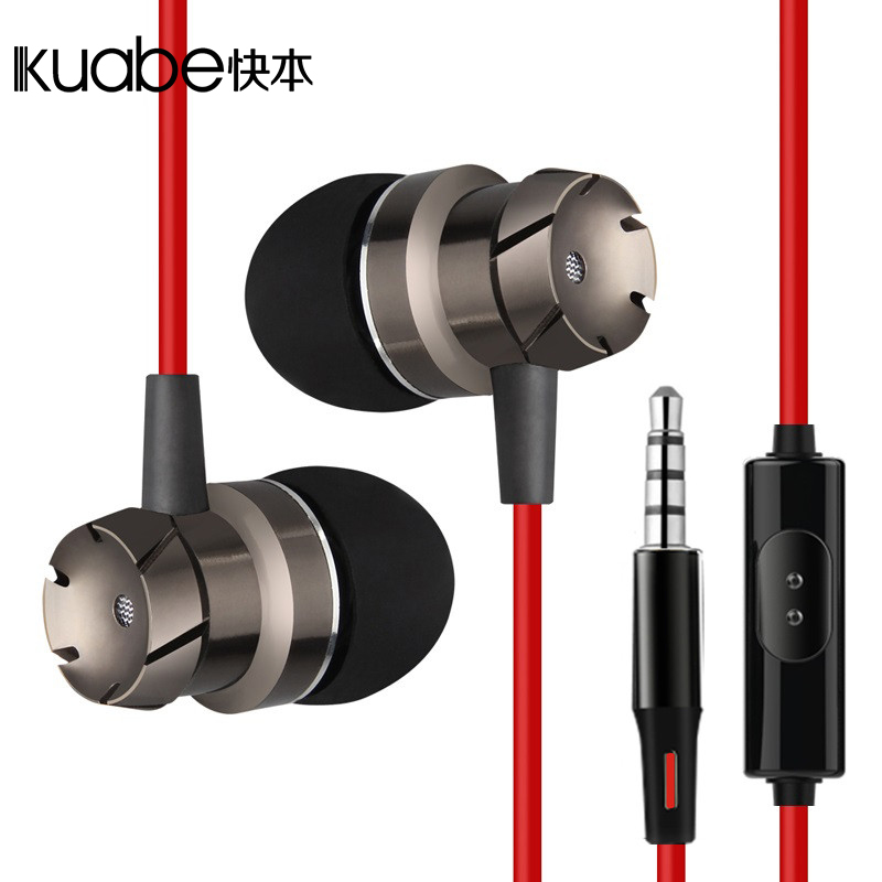 Kuabe original red turbo In-Ear earphone bass stereo With Microphone sports earbuds For phone iPhone xiaomi MP3 MP4 IPAD 100% original high quality stereo bass headset in ear earphone handsfree headband 3 5mm earbuds for phone mp3 player