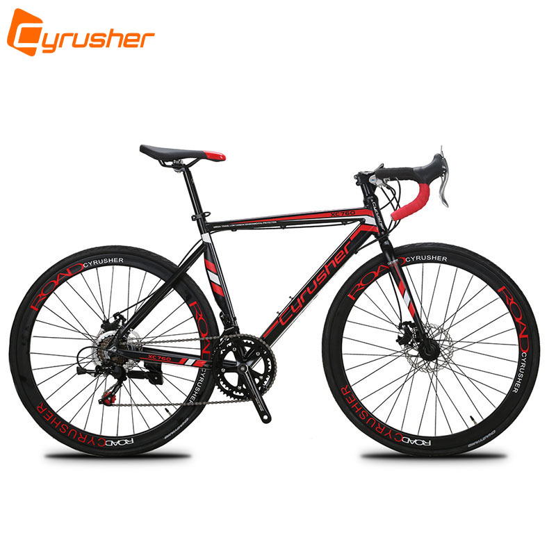 Cyrusher XC760 Unisex Commuting Road Bike 700C*52cm Aluminum Alloy Frame Bicycle 14 Speeds Racing Road Bicycle Double Disc Brake  new brand 14 speed racing bike 700c 50cm bike aluminum alloy frame bend bicycle cycling disc brake road bike drop shipping