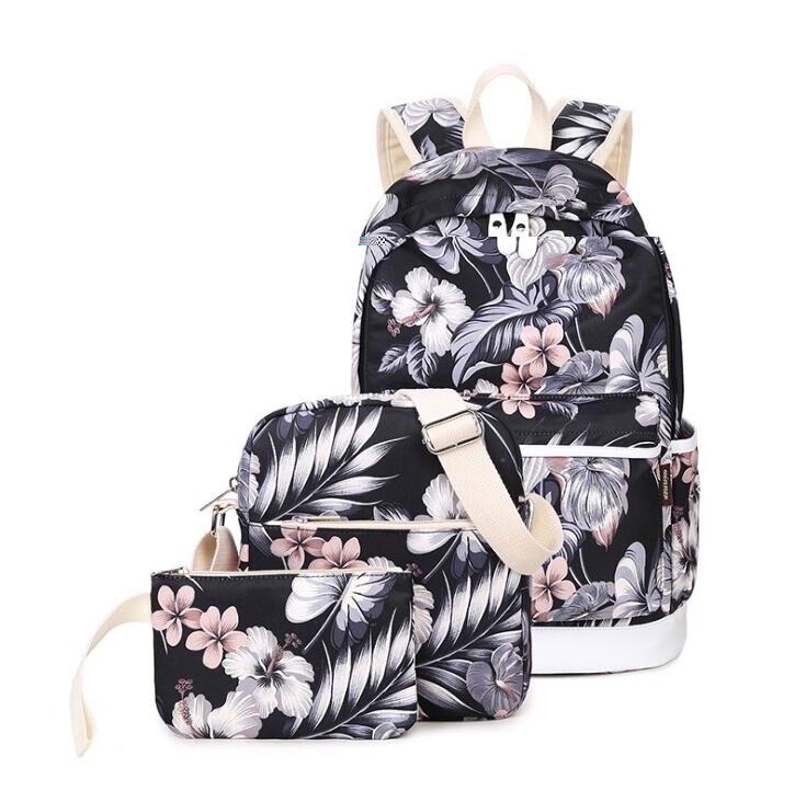 3 قطعة/المجموعة ظهره النساء الأزهار طباعة قماش bookbags مدرسة حقائب الظهر للمراهقات bagpack backbag