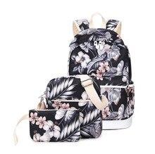 3 шт./компл. Рюкзак Женщины Цветочные Печати Рюкзак Холст Bookbags Школьные Сумки Рюкзаки для девочек-Подростков Bagpack Backbag