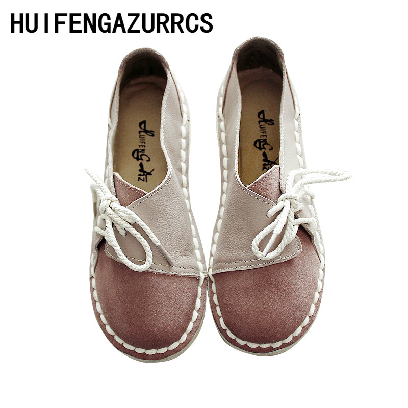 HUIFENGAZURRCS-Hot,2019 homemade handmade genuine   leather   women's shoes,retro art round head soft bottom flat shoes,3 colors