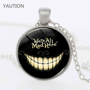 Fashion New Alice In Wonderland We're All Mad Here , 3/Color Pendant Dome Necklace Chain Lass Charms Pendant image
