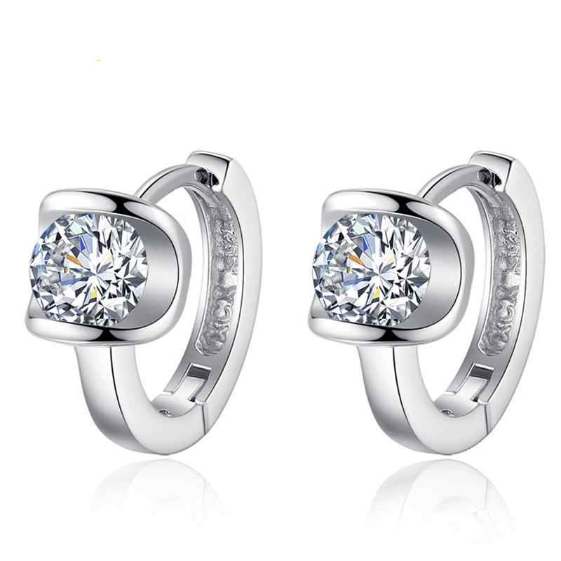 New 925 Sterling Silver Noble Elegant Earrings fashion Angel Kiss Earrings Cubic Zirconia Jewelry Female Models