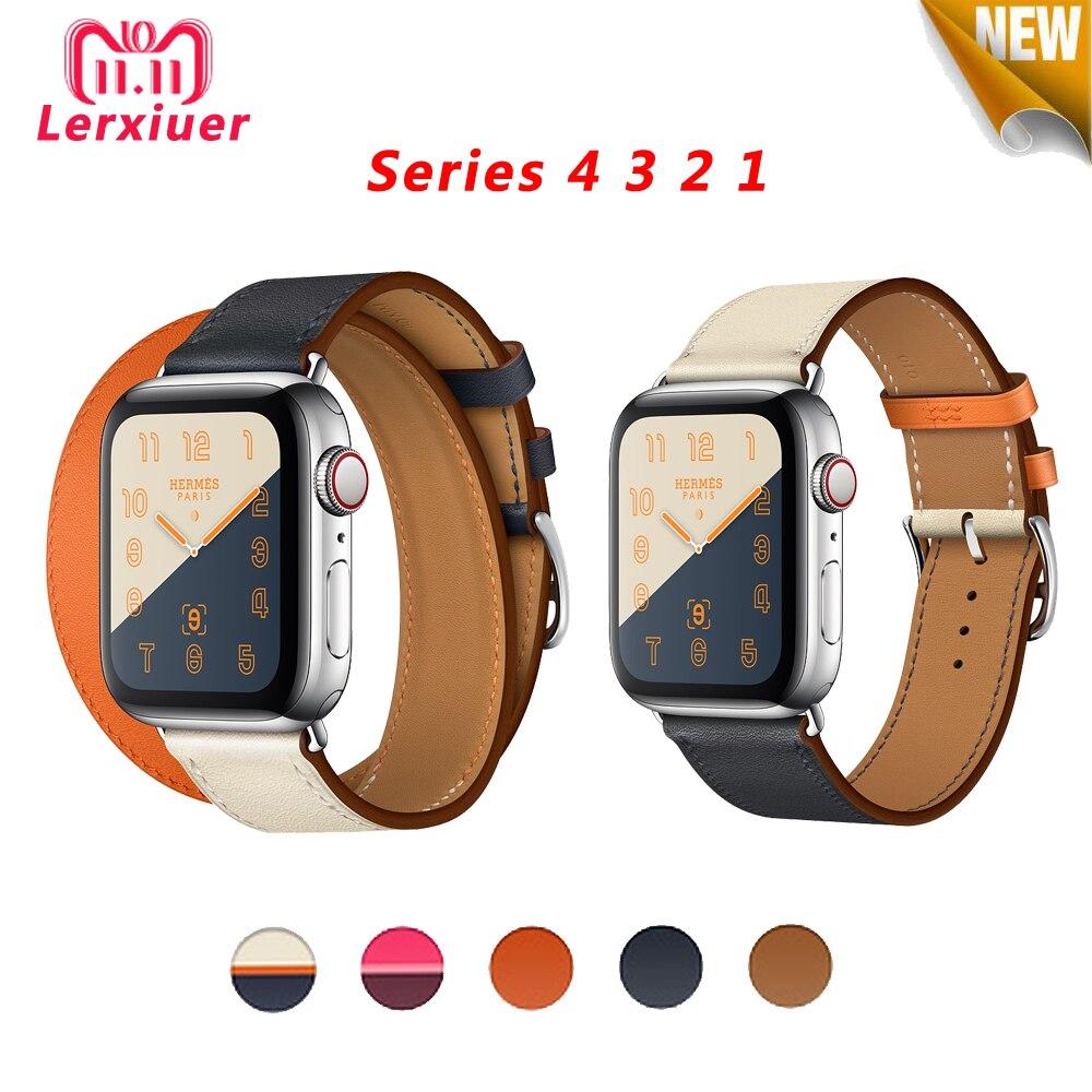 Correa de cuero para Apple Watch 4 band 44mm 40mm correa de reloj iwatch series 3 2 1 42mm 38mm pulsera correa de muñeca accesorios de reloj