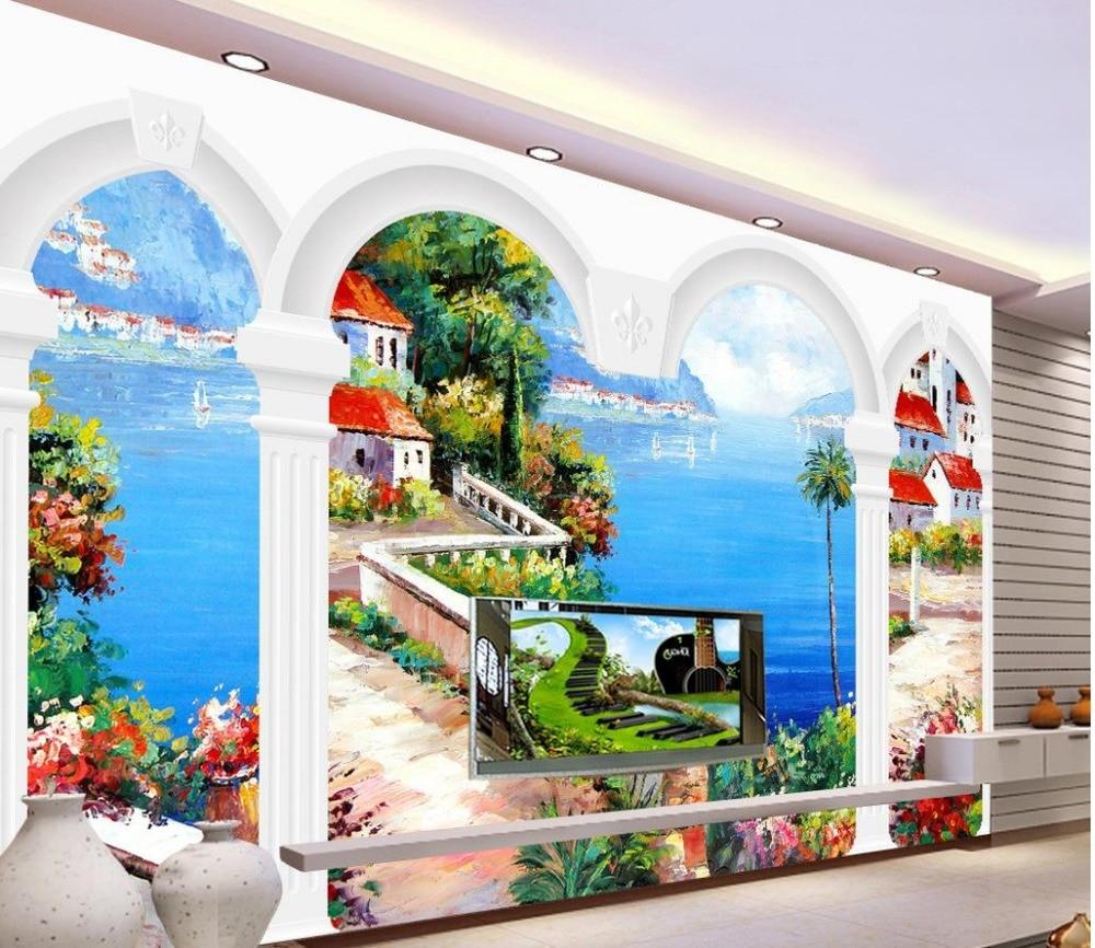 Europa stile mediterraneo mural sfondo 3d stereoscopico for Carta da parati effetto murales