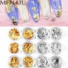 Silver&Gold 12jar/set Aluminum Foil Paper Nail Art Sticker 3D Glitters DIY Manicure UV Gel Polish Decoration Tools MAFANAIL
