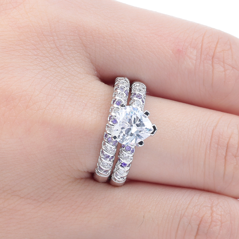 Luxury Heart Purple White CZ zircon Wedding Ring Sets for Women ...