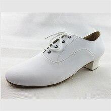 White Latin Dance Shoes Men Lace Up Ballroom Dance Shoe Square Heel Salsa Shoes Soft