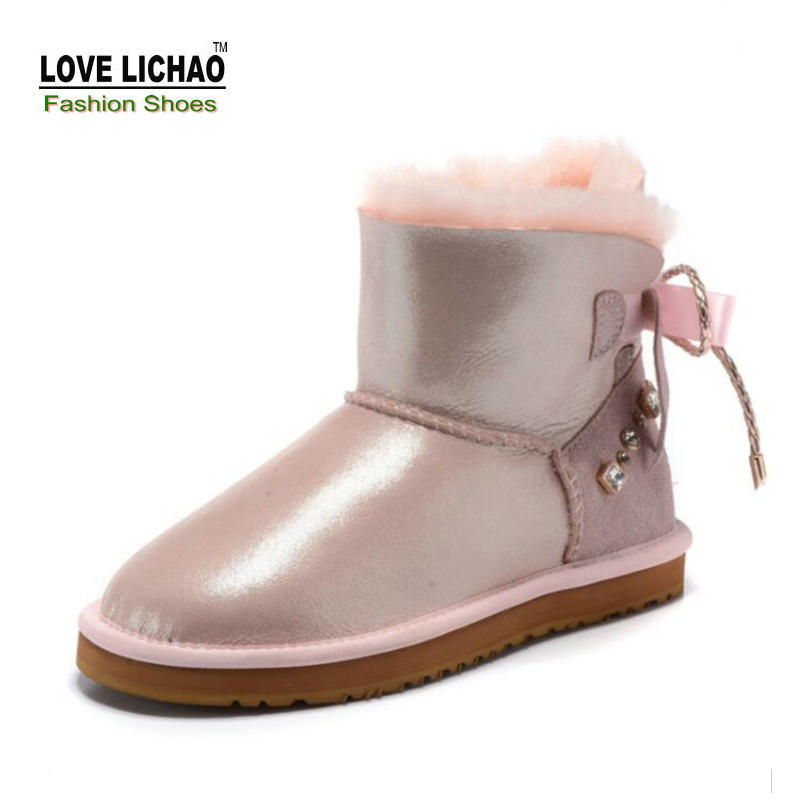 100% Natural Sheepskin Fur Snow Boots Women Australia Classic Snow Boots Top Quality Genuine Leather Women Boots Warm Flat Shoes 2016 australia genuine sheepskin leather