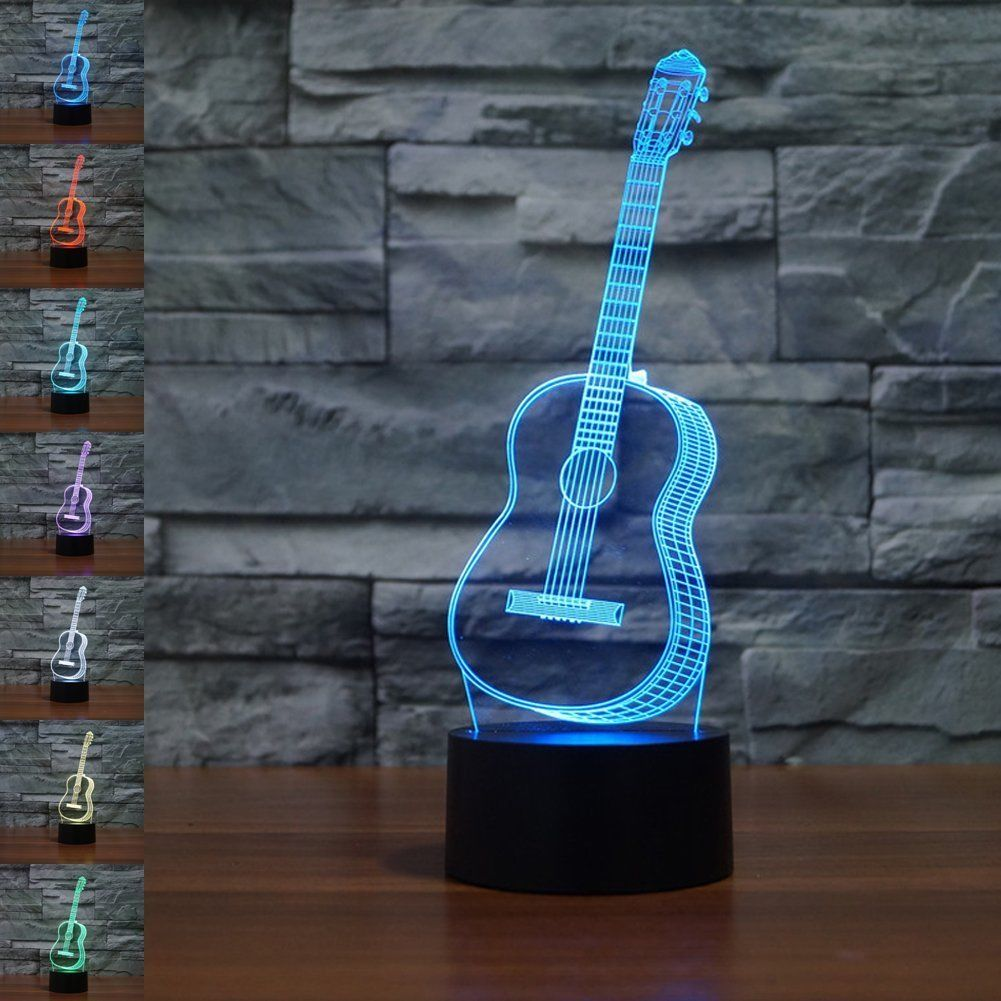 3D Marquee Letter Lights Party Guitar Illusion Lamp Gawell Night Light 7 Colors Glows With Smart Touch Switc