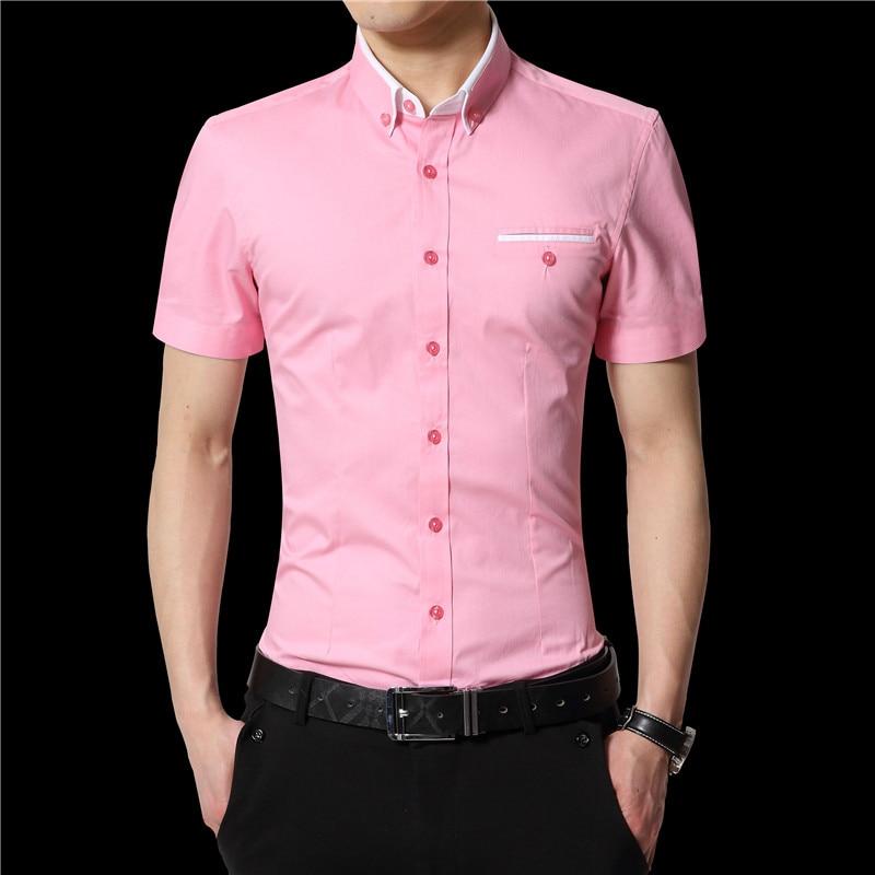 2019 sommer Männer Kurze Hemden Casual Shirts Hemden Feste Hemden - Herrenbekleidung - Foto 3