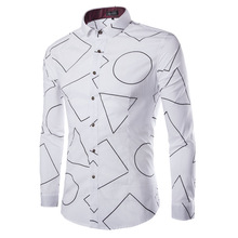 Special design Round triangle White Long Sleeve Men Shirt white chemise homme brand-clothing shirt plus size 3XL CHFF-9209