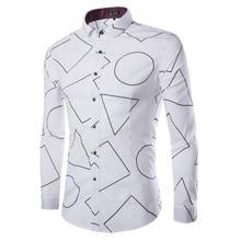 Special design Round triangle White Long Sleeve font b Men b font font b Shirt b