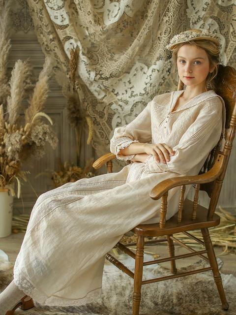 LYNETTE'S CHINOISERIE Autumn Spring New Original Design Women Loose French Vintage Mori Girls Embroidery Cotton Ramie Dresses