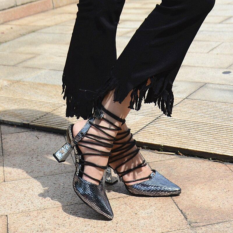 Peu Argent Strass Luxe Élégantes Pointu À Profonde Chaussures Femmes Liée Perfetto Hauts Prova Sexy Pompes Dames De Croix Bout Slingback Talons wR8p0aq