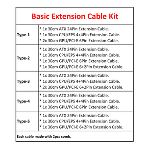 Image 5 - Basic Extension Cable Kit   Mixed Color Sleeved ATX 24Pin, EPS 4+4Pin, PCI E 6+2Pin, PCI E 6Pin Power Extension Cable.