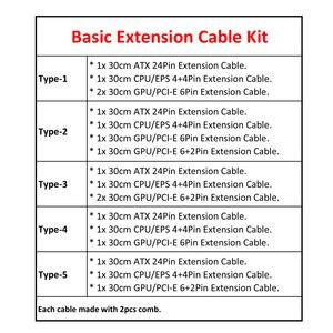 Image 5 - Kit de Cable de extensión básico ATX 24Pin, CPU 4 + 4 pines, GPU 6 + 2 pines, GPU 6Pin Cable de extensión de alimentación.