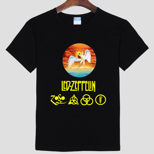 2016 the latest style  New Cotton Printed Short Sleeve Zoso T-shirts Led Zeppelin T shirt Tshirt Rock N Roll Band