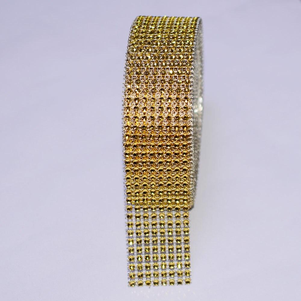 5 yard 4cm Rhinestone Diamond Ribbon for Wedding Cake Decoration Trim Gold