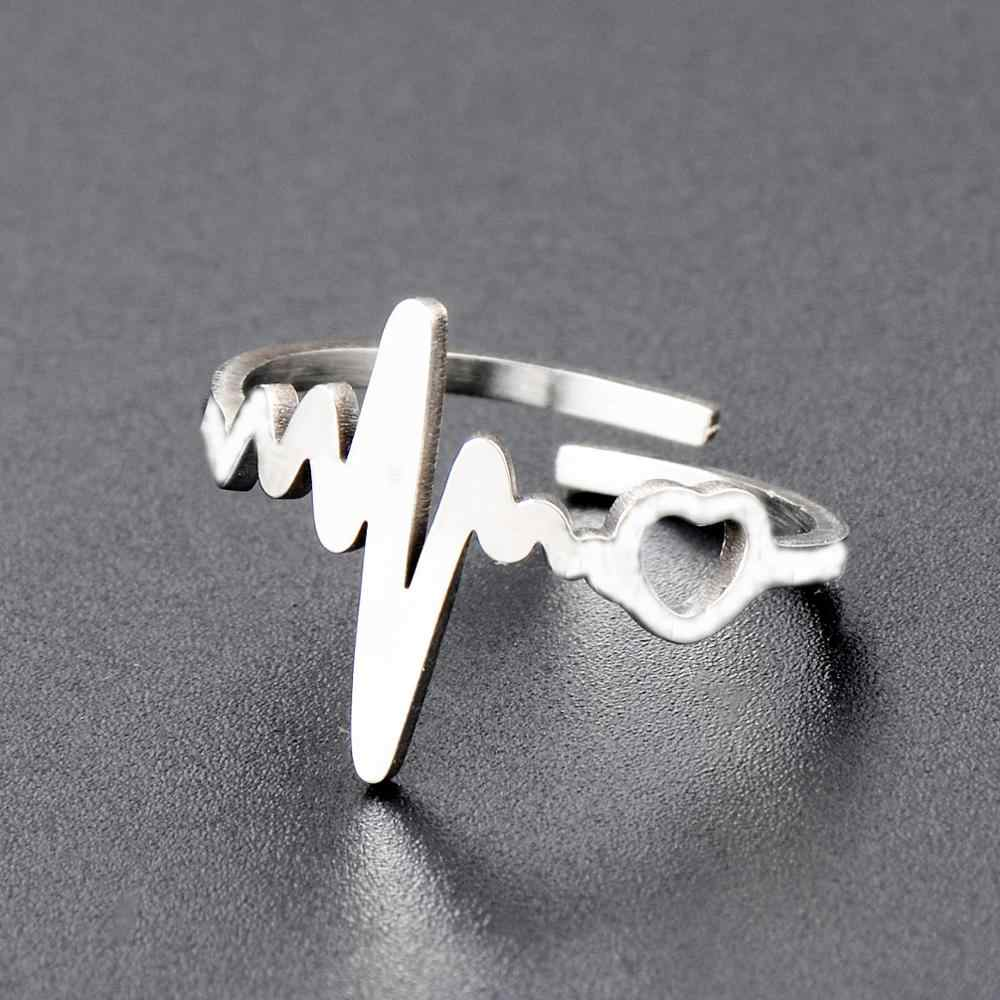 Stainless Steel Silver Butterfly Heartbeat Adjustable Finger Rings for Women Tortoise Dragonfly Wedding Engagement Ring Jewelry