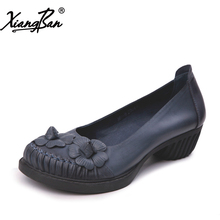 Xiangban women pumps thick heel genuine leather shoes shallow slip on soft leather ladies shoes med heels