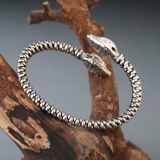 Bracelet Viking tête de mort serpent 6