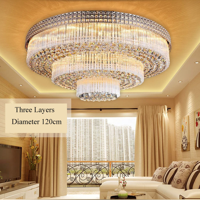 Luxuriöse LED goldenen wohnzimmer runde kristall beleuchtung ...