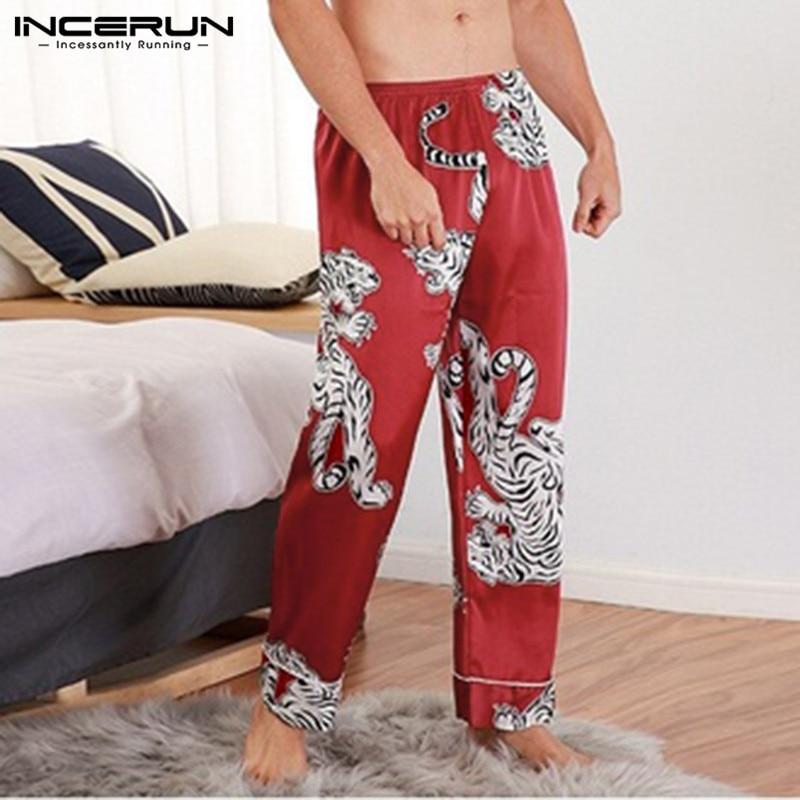 2019 Silk Satin Men Sleep Pants Printing Pajamas Comfortable Casual Vintage Lounge Pants Men Bottoms Sleepwear Plus Size INCERUN