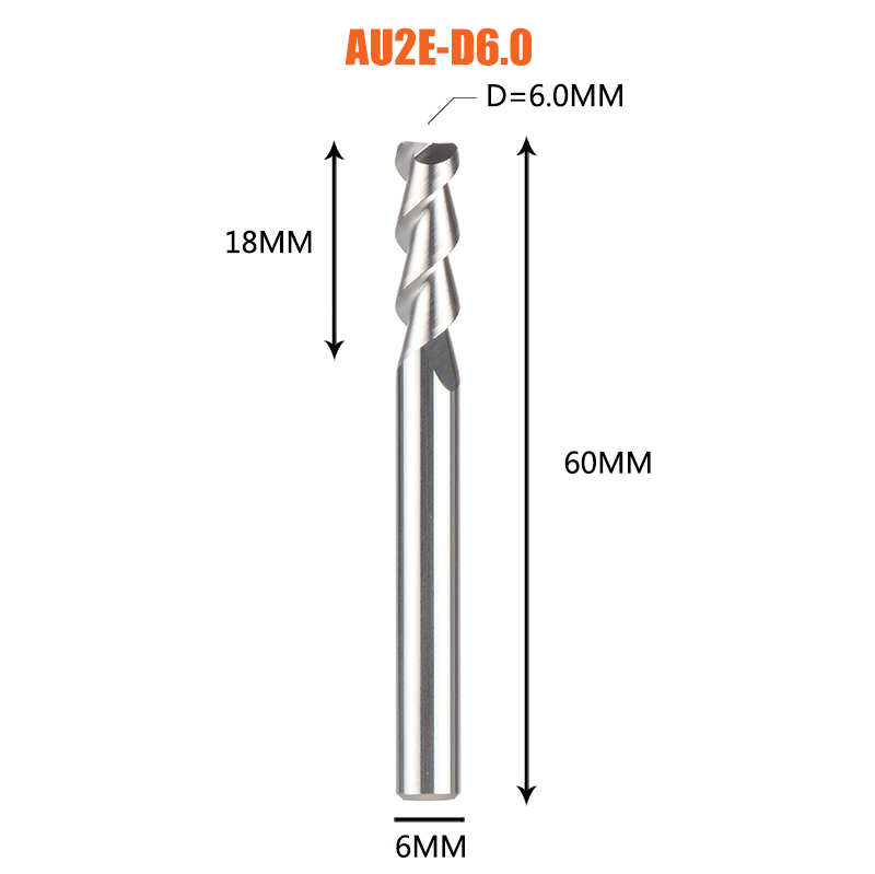 1 pc 3 флейты фрезы вольфрамового сплава концом ЧПУ фреза алюминий фреза для алюминия и деревообрабатывающие - Длина режущей кромки: 1PC-AU2E-D6.0