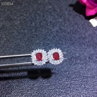 KJJEAXCMY fine jewelry 925 pure silver inlaid natural ruby female stud support test