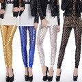 NEWEST Style Fashion Women Punk Metal Faux Leather Fish Scale Hole Legging PVC Leggings Latex Leggings