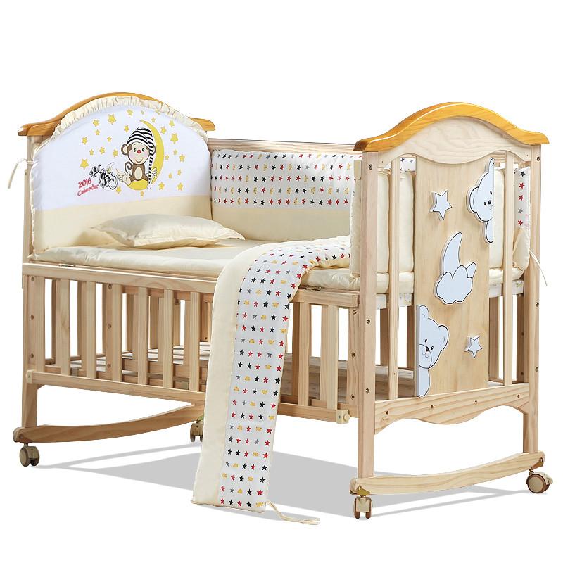 estilo europeo del medio ambiente del beb cuna cuna de madera maciza cama de beb